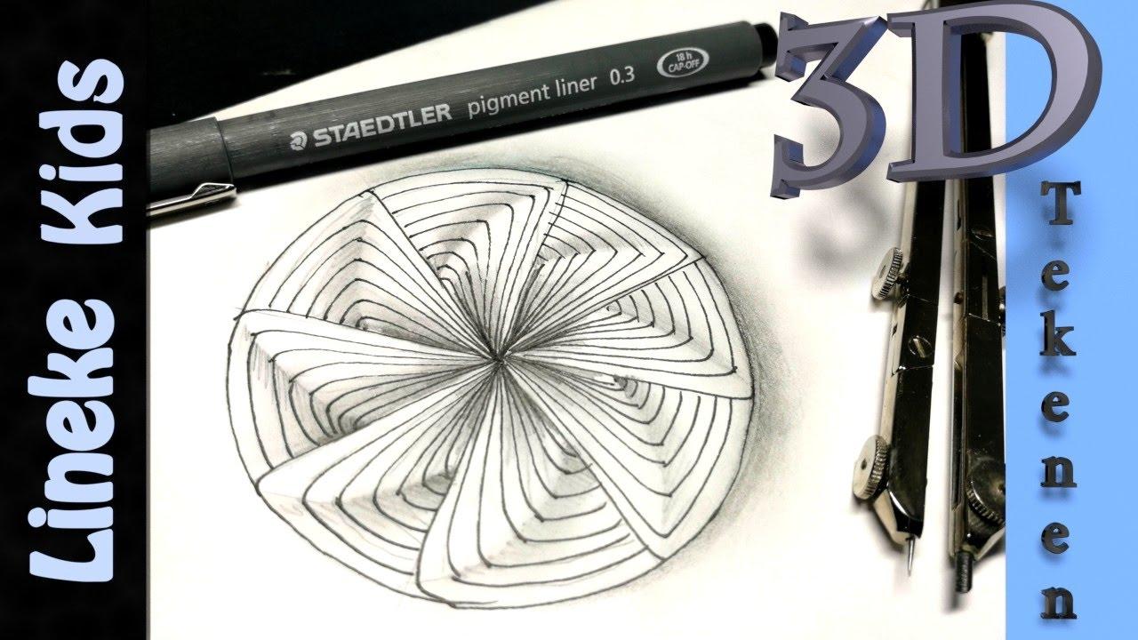 3d tekenen makkelijk effect teken cirkel en bloem for Tekenen 3d