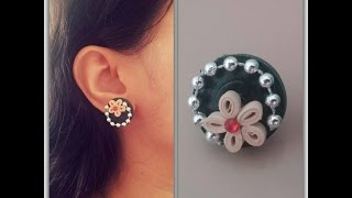 How To Make Quilling Stud Earring/ Design 6/ Tutorial