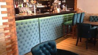 Барная стойка с каретной стяжкой на заказ(Изготовление мягких стеновых панелей для барных стоек в клубах, ресторанах и барах на заказ. http://mescompany.com.ua/ba..., 2016-04-05T12:11:25.000Z)