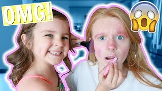 SISTER DOES MY MAKEUP CHALLENGE! 😱💄 (again)