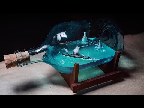 EPOXY RESIN DIORAMA Battle of warships in bottle