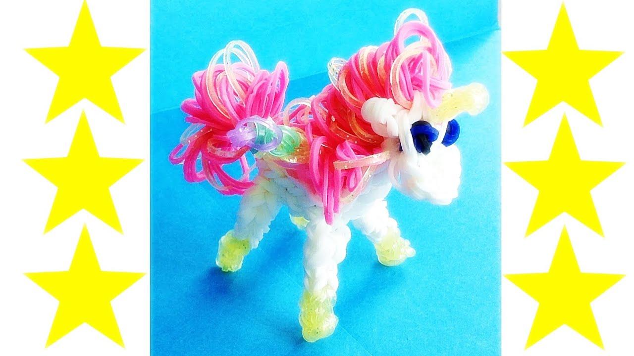 Rainbow Loom Amigurumi Unicorn : 3D Rainbow Loom Charms: Horse / Unicorn Made with Loom ...