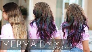 Mermaid Hair Color on Virgin Hair   Vivid Balayage Tutorial (One Easy Step!)