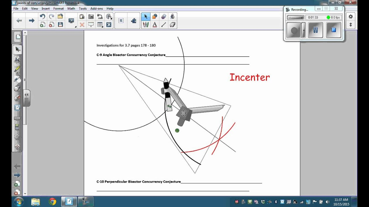 Incenter Construction useing angle bisectors on corrected – Angle Bisector Worksheet