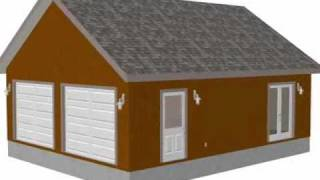 G472 24 X 30 X 9 Two Car Garage Plans With Scissor Truss Wit