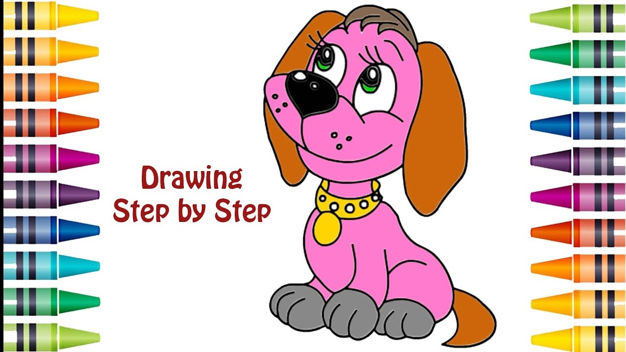 how to draw cute puppy dog  learning coloring pages for