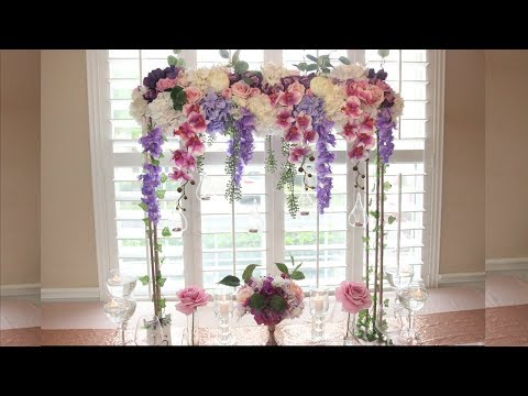DIY Tall Romantic Garden Wedding Centerpiece