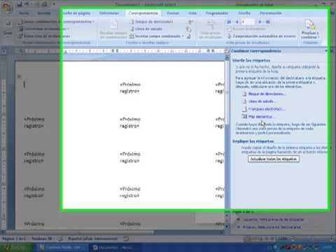 Tutorial de como hacer etiquetas en word 2007 - YouTube