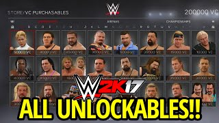WWE 2K17 - ALL UNLOCKABLES & VC PURCHASABLES!!