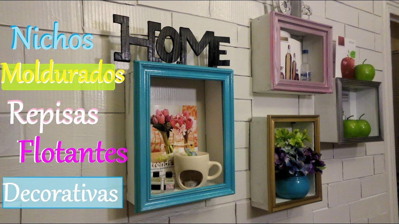 DIY, Repisas flotantes / Nichos enmarcados decorativos - YouTube