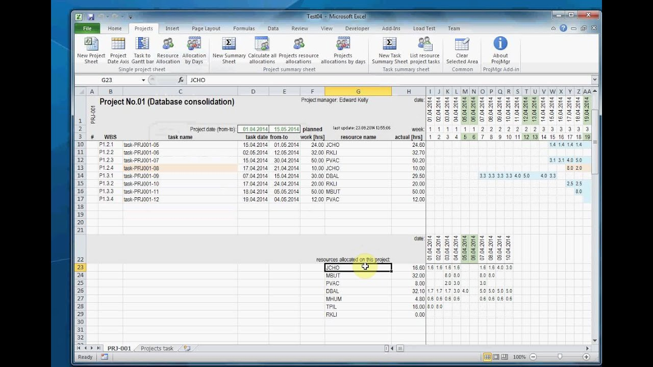 Project In Excel Add In Projects Resource Allocations