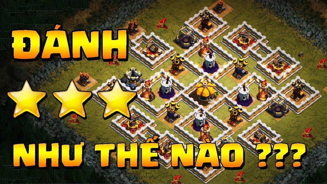 """Hướng dẫn cách đánh 3 sao bản đồ """"VÙNG ĐẤT PHÁO HOA"""" TH9 10 11 12   Clash of clans"""