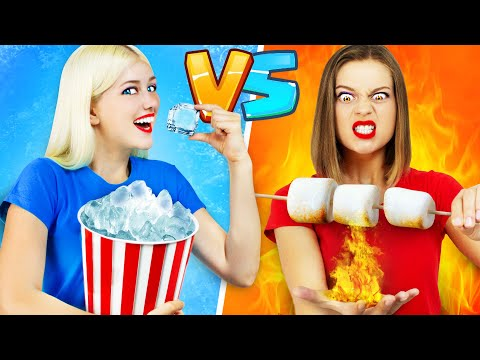 HOT GIRL VS COLD GIRL CHALLENGE    Fire vs Ice by RATATA