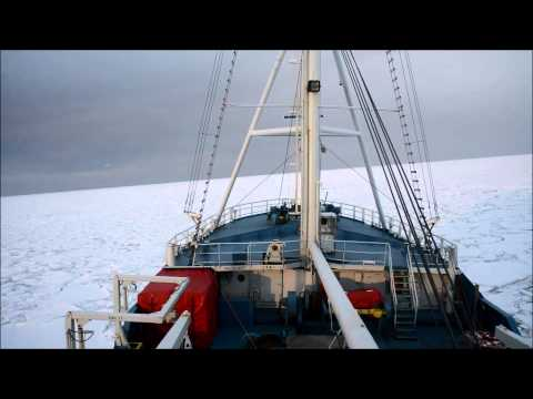 RV Lance breaking ice in the Barents Sea