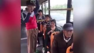 Woman stunned when man appears to have massive erection on public bus