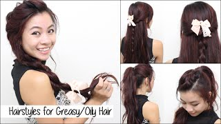 Hairstyles for Oily Greasy Hair l Quick, Cute, & Easy School Hair Tutorial for Medium Long Hair