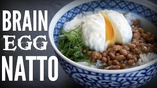 BRAIN EGG NATTO Bowl | a brain-shaped egg & stinky beans on rice