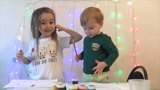 Challenge /Educational activitiy for children with Finger Paints and Coloring