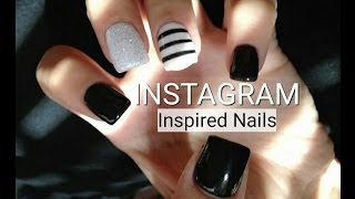 INSTAGRAM NAIL ART – Inspired Nail Designs   Black & White Color Theme   Minimalist Style