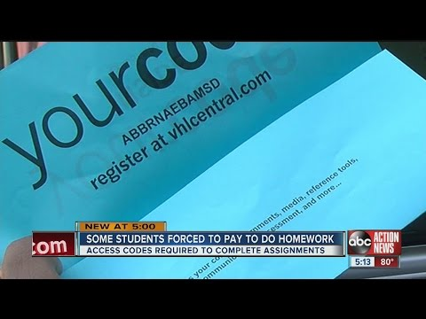 Access codes force students to pay to do homework
