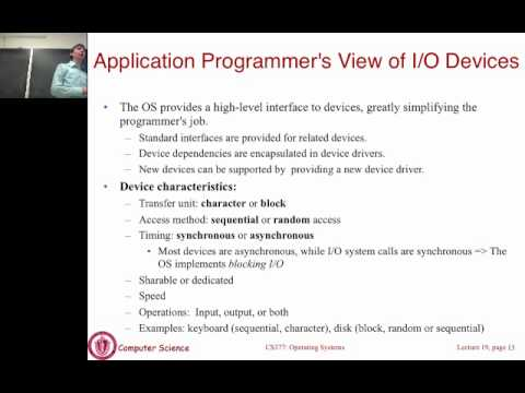 Lecture 18: I/O systems and device drivers