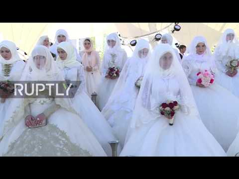 Russia: Mass weddings take place in Grozny to mark the city's 199th anniversary