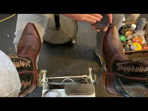 Shoeshine ASMR, Lucchese Cowboy Boots First Shine!! Western Boots,  Botas Vaqueras