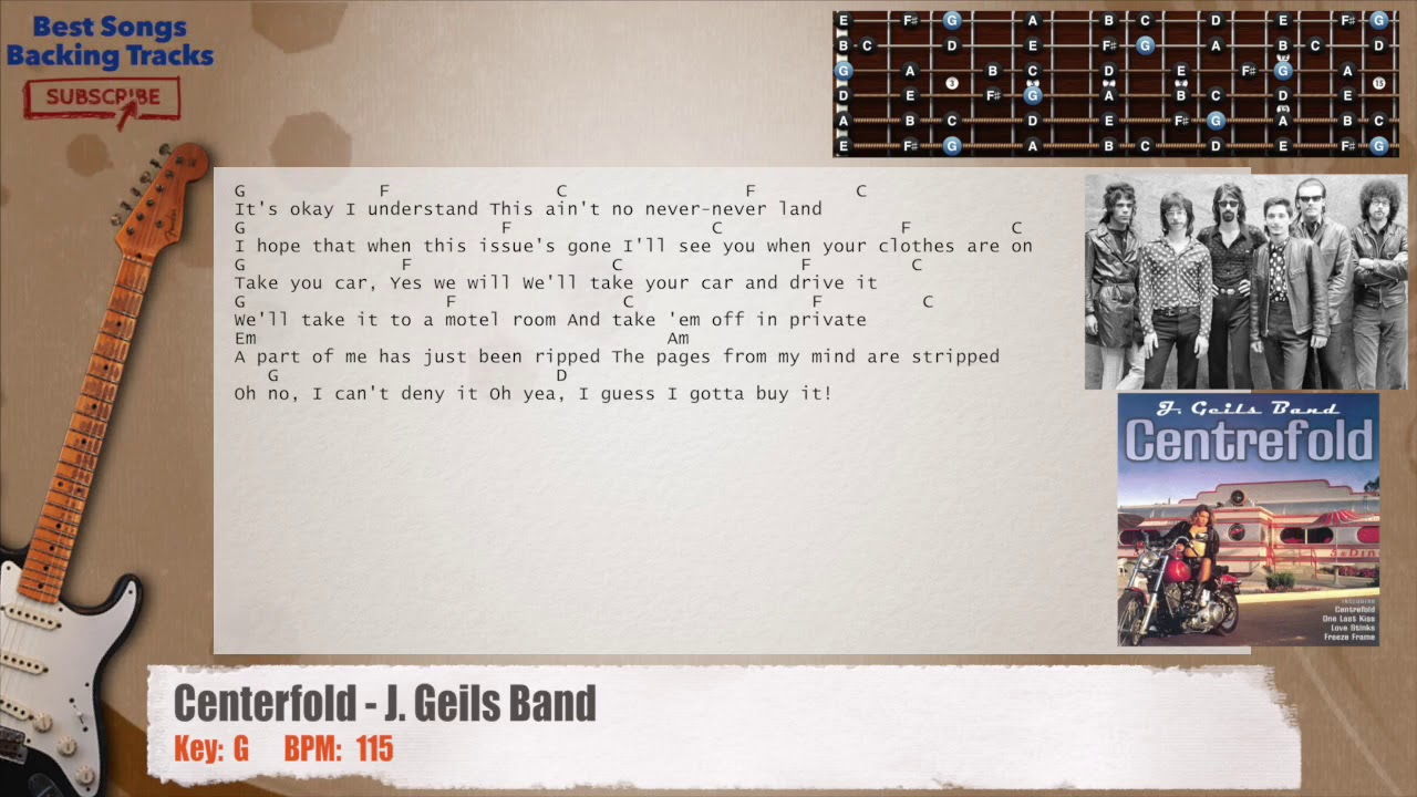 🎸 Centerfold   J. Geils Band Guitar Backing Track with chords and lyrics