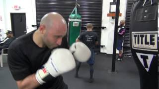 Amer Abdallah On The Uppercut Bag At The Mayweather Boxing Club