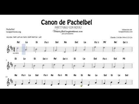 Canon de Pachelbel con Notas Partitura Flautas, Violin Oboe Instrumentos en do