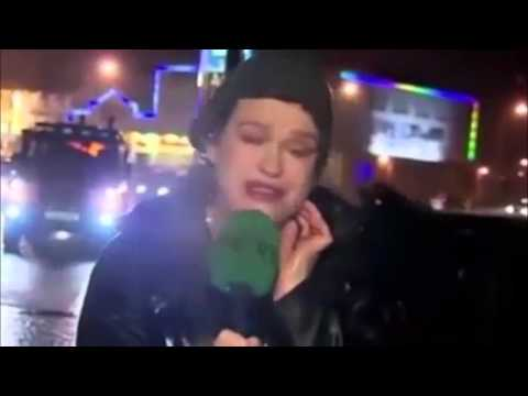 Reporter Gets Hit By Stop Sign In Stormy Weather -  Compilation