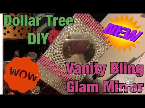 (Dollar Tree DIY) Vanity Glam Bling Makeup Mirror