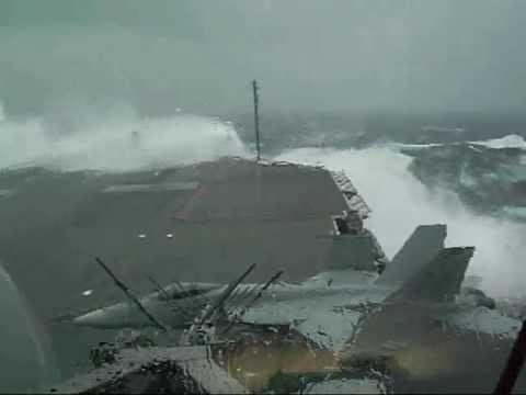 USS Kitty Hawk (CV-63) slammed by giant wave during typhoon