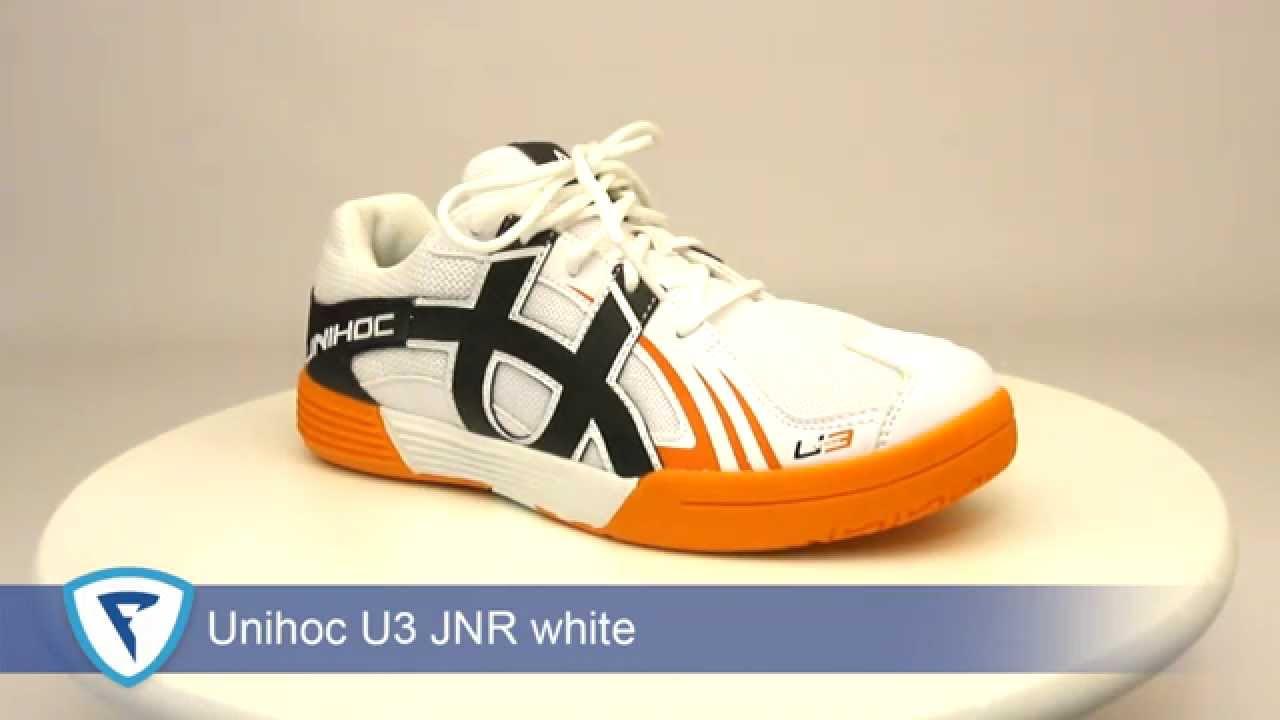 d3cd9d78385 Unihoc U3 Junior White Orange florbalová obuv - YouTube