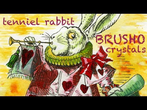 Brusho Ink Crystals Demo, Tenniel Ink Rabbit Study