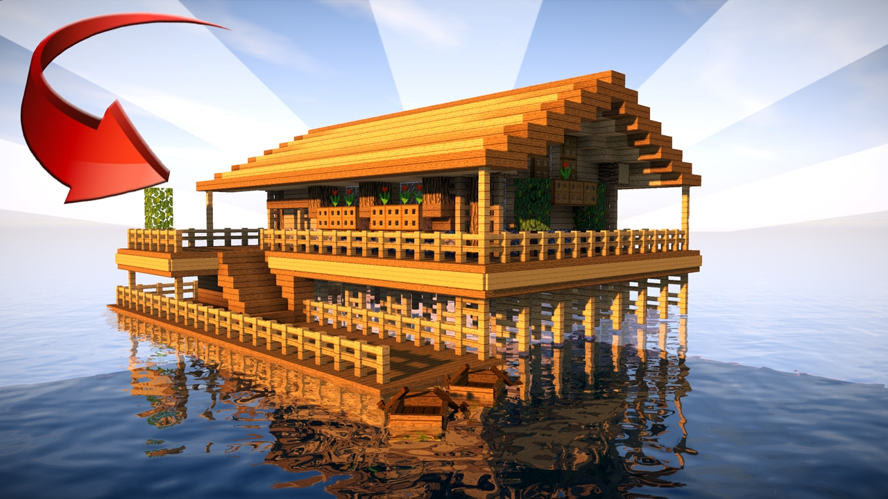 Starter house in minecraft on the water youtube for How to build a beach house