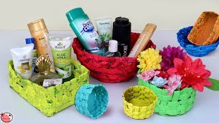 Paper Baskets Making at Home || Best Out of Waste News Paper Craft || DIY Organization