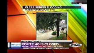 Flash Flooding: WHAG News @ 6:00 PM - Thursday 12 June 2014 - Clear Spring Flash Flooding Phoner