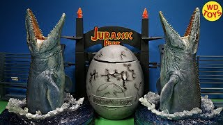 New Giant Jurassic World Surprise Egg Dinosaur Toys For Kids / Mosasaurus Vs Mosasaurus Unboxing