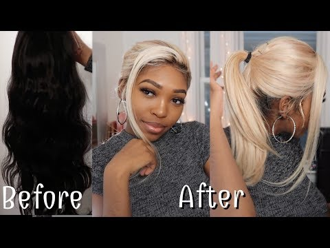 Bleaching a lace front wig from to black to blonde (1b to 613) Ft Donmily Hair | Takisha Etienne