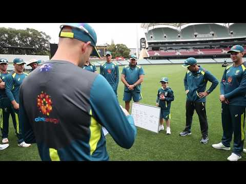 Archie warms up at Adelaide Oval with the Australian Cricket Team