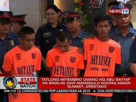 Tatlong miyembro umano ng Abu Sayyaf na binalak daw manggulo noong ASEAN Summit, arestado