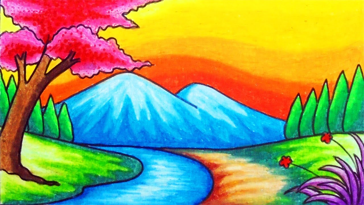 How To Draw Easy Scenery Drawing Beautiful River Scenery With Sunset Step By Step With Oil Pastels Youtube