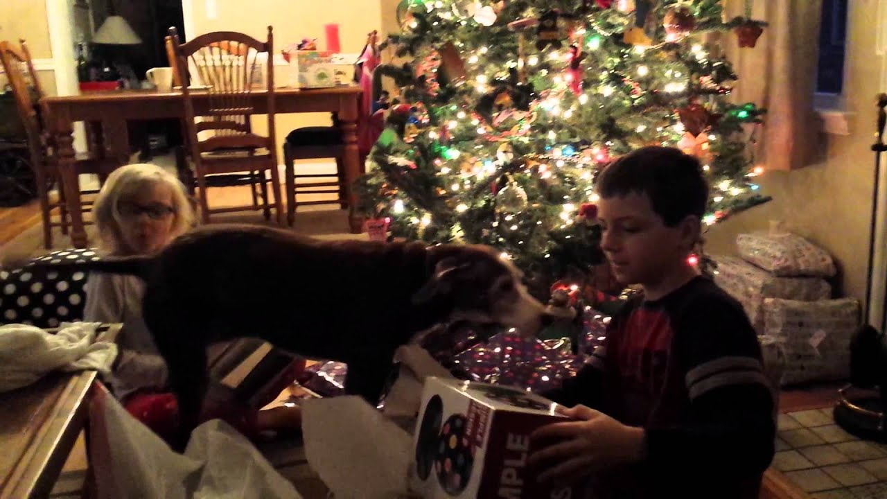 Christmas morning 2014 opening gifts and presents DVD player and ...