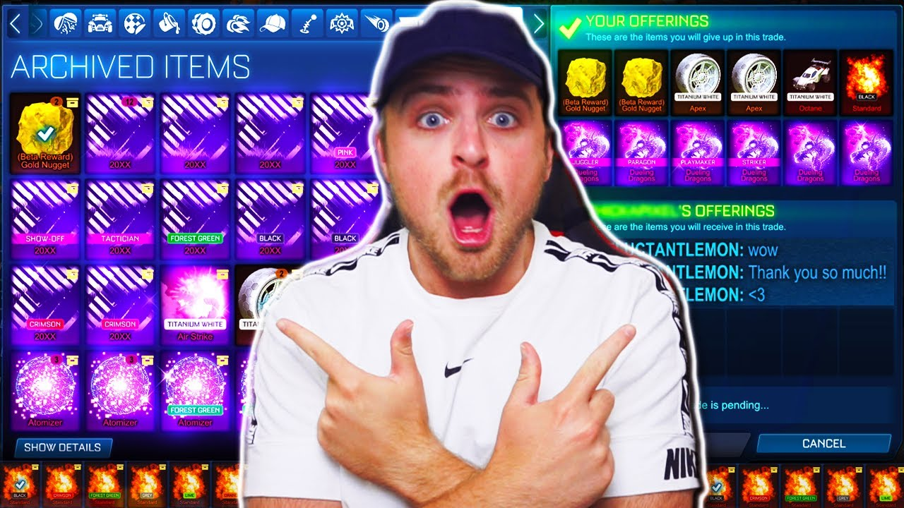 SURPRISING Traders in Rocket League with their DREAM ITEM from my STACKED INVENTORY... *EXPENSIVE*