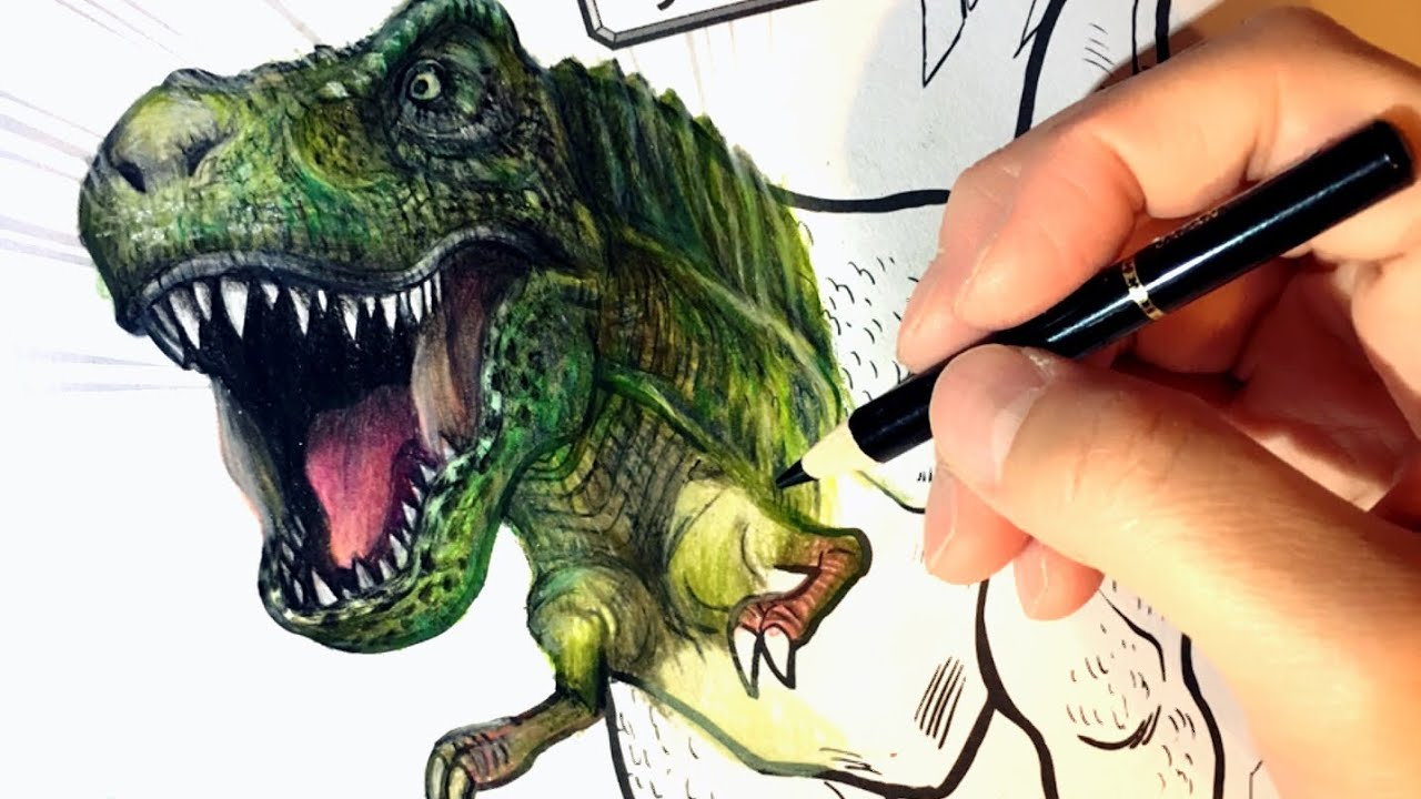 【恐竜】こどものぬりえを塗ってみた!【ティラノサウルス】