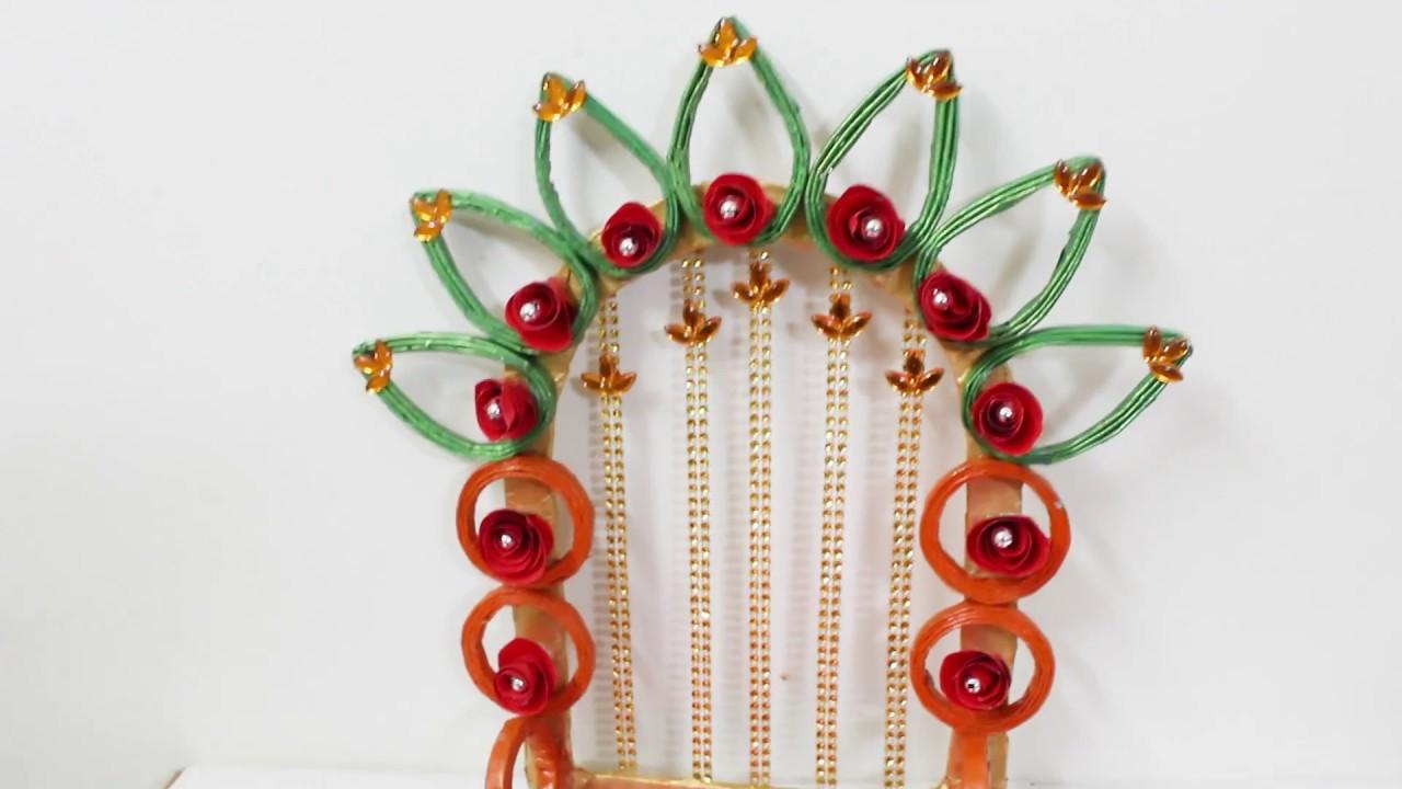 Ganpati Makhar Decoration Ideas At Home using newspaper - YouTube