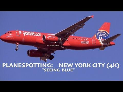 """Plane Spotting: ✈ New York City @ ICAO: KJFK   """"Jet Blue""""  (4K)"""