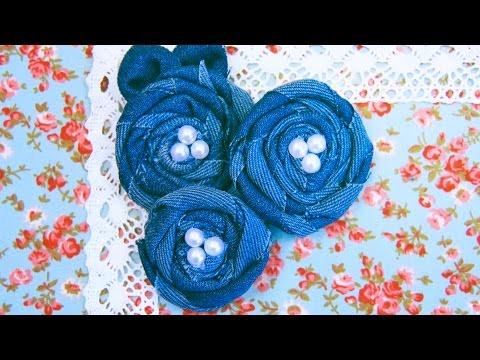 Как сделать брошь-цветок из джинсовой ткани.