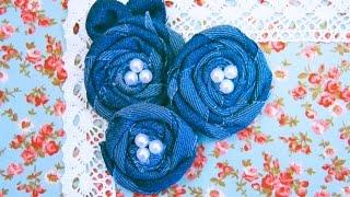 Розы из джинсовой ткани Своими руками. Мастер-класс / Denim Rolled Roses Tutorial /✿ NataliDoma
